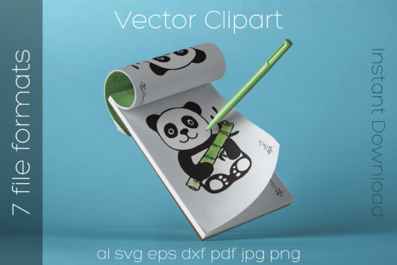 Download Free Panda Bear Svg Watercolor Clipart Vector Graphic By Ibeartoo Creative Fabrica for Cricut Explore, Silhouette and other cutting machines.