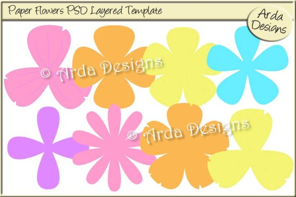 Download Free Paper Flower Psd Templates Graphic By Arda Designs Creative for Cricut Explore, Silhouette and other cutting machines.