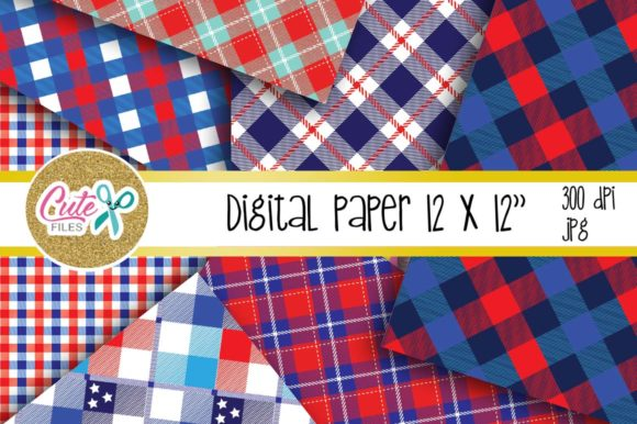 Download Free Patriotic Buffalo Check Plaid Digital Paper Graphic By Cute for Cricut Explore, Silhouette and other cutting machines.