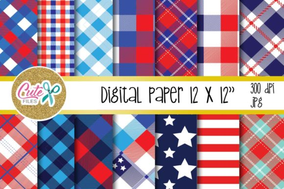 Patriotic Buffalo Check Plaid Digital Paper Graphic Textures By Cute files