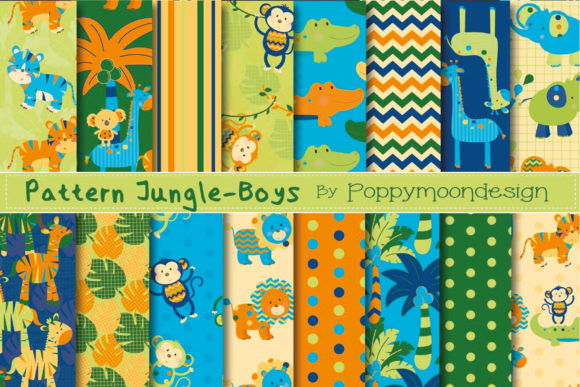 Download Free Pattern Jungle Boys Pape Graphic By Poppymoondesign Creative for Cricut Explore, Silhouette and other cutting machines.