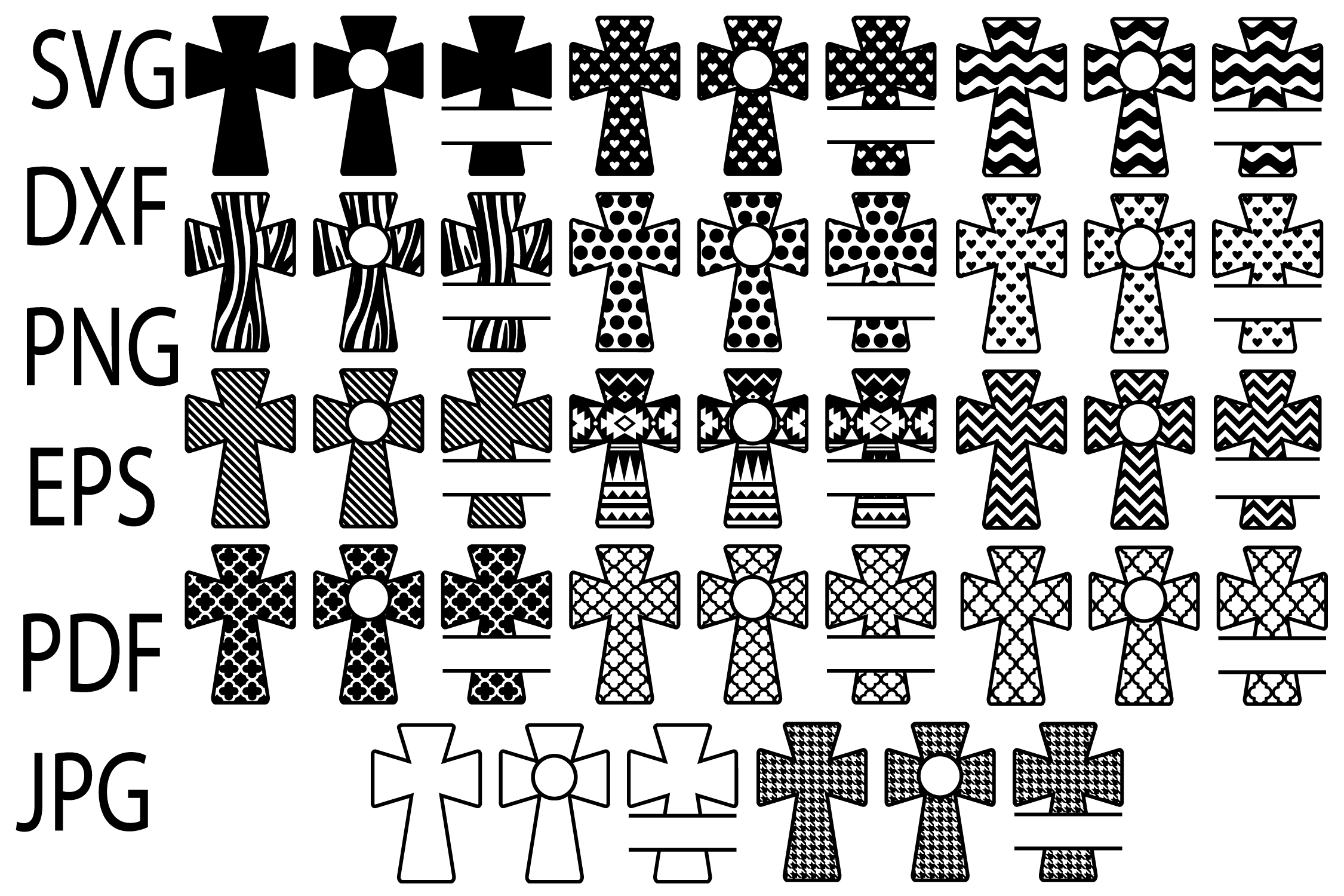 Download Free Patterned Cross Svg Christian Svg Files Cross Monogram Svg for Cricut Explore, Silhouette and other cutting machines.