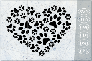 Download Free Paws Print Heart Love Graphic By Cute Graphic Creative Fabrica for Cricut Explore, Silhouette and other cutting machines.