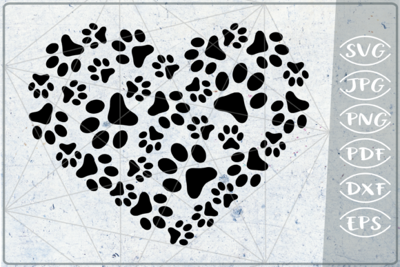 Paws Print Heart - Love Graphic Crafts By Cute Graphic