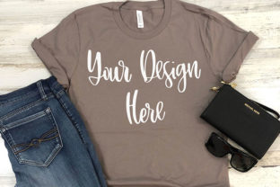 Print on Demand: Pebble Brown Styled T-shirt Mockup Photo Graphic Product Mockups By boecustomdesign