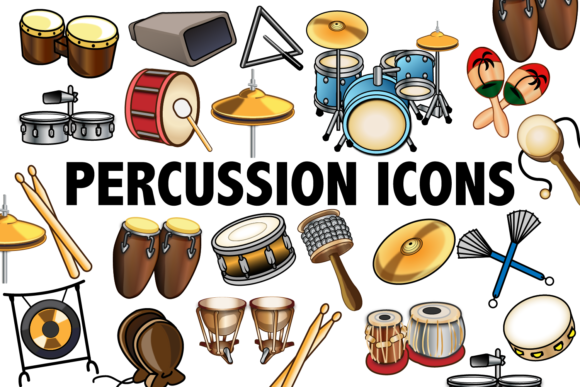 Print on Demand: Percussion Clipart Graphic Illustrations By Mine Eyes Design