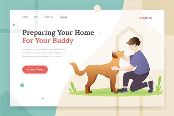 Pet Adoption Landing Page Illustration Graphic Websites By Fand
