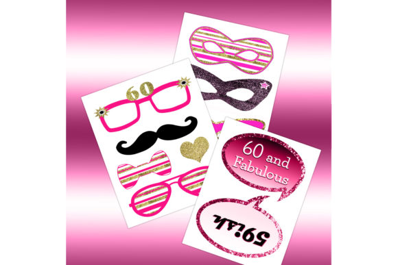 Download Free Pink 60th Birthday Photo Booth Props Graphic By for Cricut Explore, Silhouette and other cutting machines.