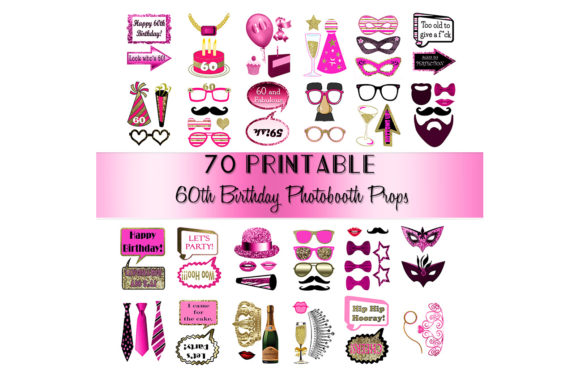 Print on Demand: Pink 60th Birthday Photo Booth Props Graphic Crafts By DigitalPrintableMe