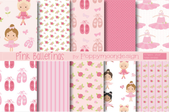 Print on Demand: Pink Ballerina Paper Graphic Patterns By poppymoondesign
