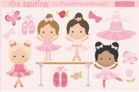 Print on Demand: Pink Ballerinas Graphic Illustrations By poppymoondesign - Image 1
