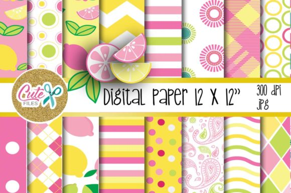 Pink Lemonade Digital Paper, Summer Colorful Graphic Textures By Cute files