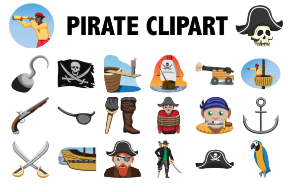 Print on Demand: Pirate Clipart Graphic Illustrations By Mine Eyes Design - Image 1
