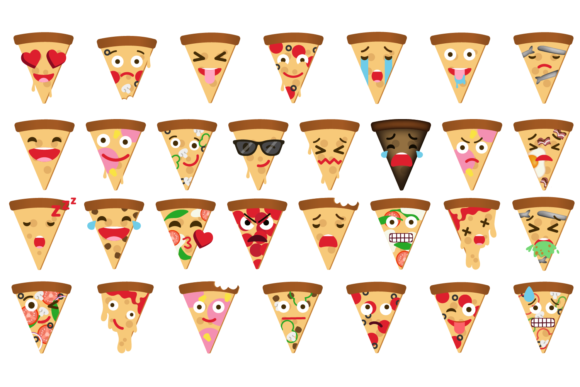 Pizza Expressions Clipart Graphic By Mine Eyes Design Image 2