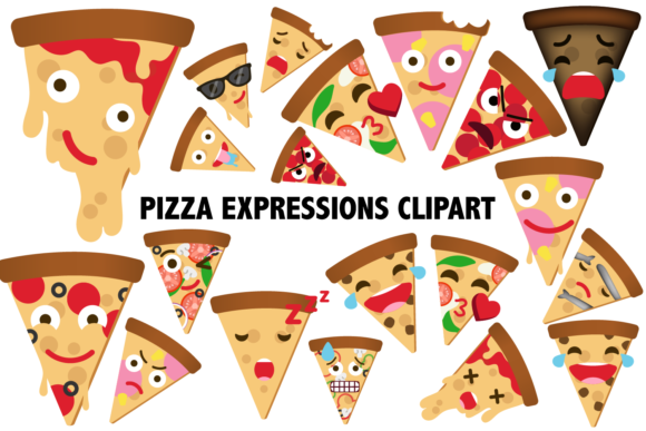 Pizza Expressions Clipart Graphic Illustrations By Mine Eyes Design