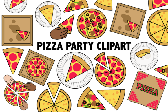 Print on Demand: Pizza Party Clipart Graphic Illustrations By Mine Eyes Design