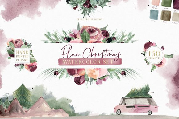 Plum Christmas Watercolor Set Graphic By Creativeqube Design