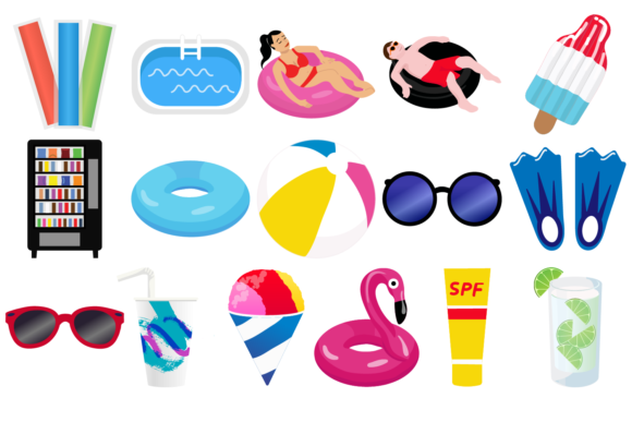 Print on Demand: Pool Party Clipart Graphic Illustrations By Mine Eyes Design - Image 2