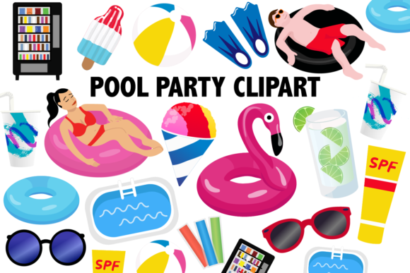 Print on Demand: Pool Party Clipart Graphic Illustrations By Mine Eyes Design
