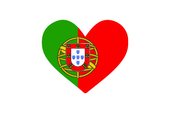 Portugal Heart Shape with Flag Portugal Plotterdatei von Creative Fabrica Crafts
