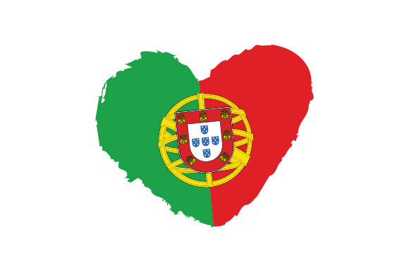 Portugal Heart Shape with Flag Portugal Craft Cut File By Creative Fabrica Crafts - Image 1