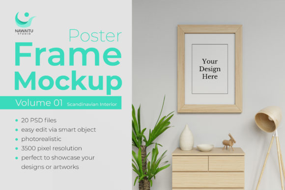 Poster Frame Mockup Vol. 1 Scandinavia Graphic Product Mockups By nawaitustudio