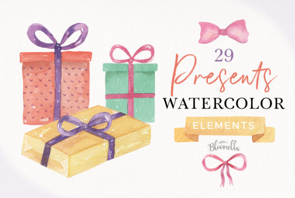 Download Free Presents Gifts In Watercolor Clipart Graphic By Bloomella for Cricut Explore, Silhouette and other cutting machines.