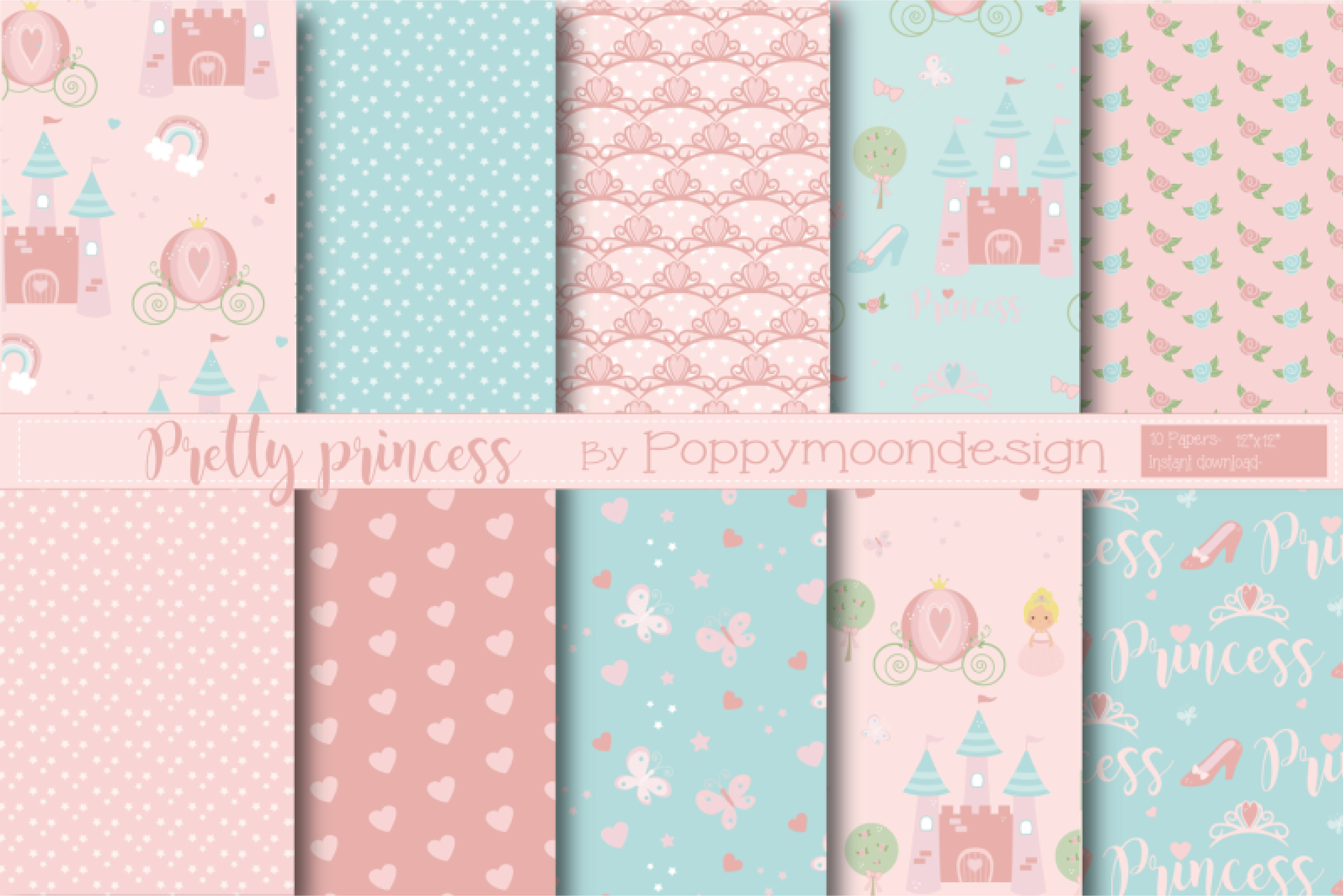 Download Free Pretty Princess Paper Graphic By Poppymoondesign Creative Fabrica for Cricut Explore, Silhouette and other cutting machines.