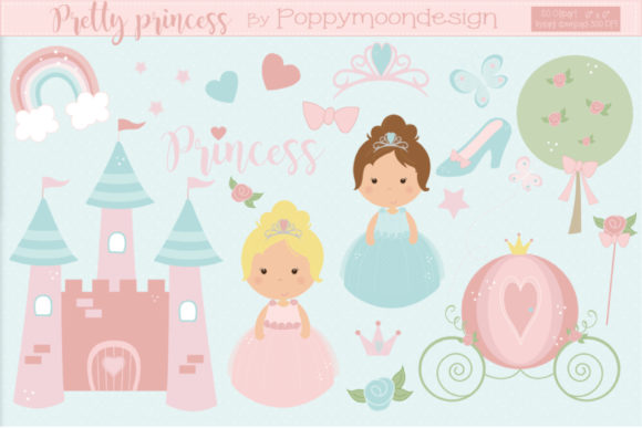 Print on Demand: Pretty Princesses Graphic Illustrations By poppymoondesign