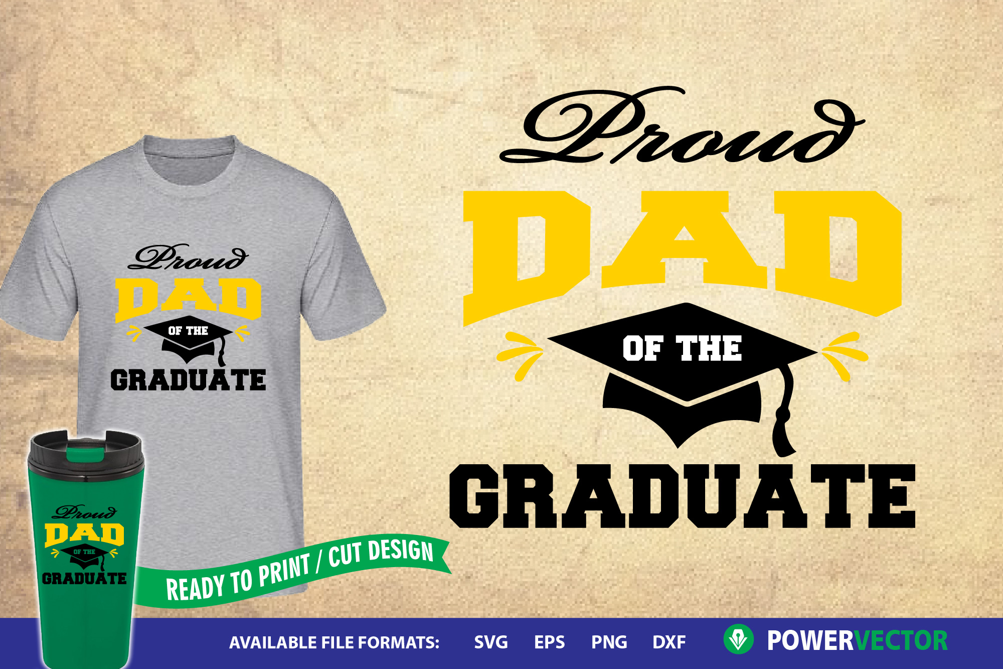 Download Free Proud Dad Of The Graduate Graphic By Powervector Creative Fabrica for Cricut Explore, Silhouette and other cutting machines.