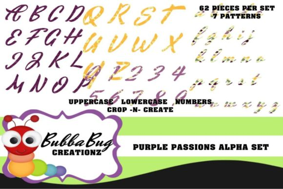 Purple Passions Alpha Set Graphic Crafts By BUBBABUG