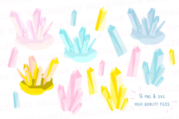 Print on Demand: Quartz Crystal, Magic Stone Clip Art Graphic Icons By Inkclouddesign - Image 2