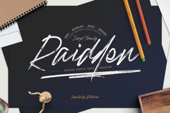 Print on Demand: Raidden Family Script & Handwritten Font By motokiwo