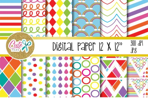Raimbow Colorful, Digital Paper for Scrapbooking Graphic Textures By Cute files