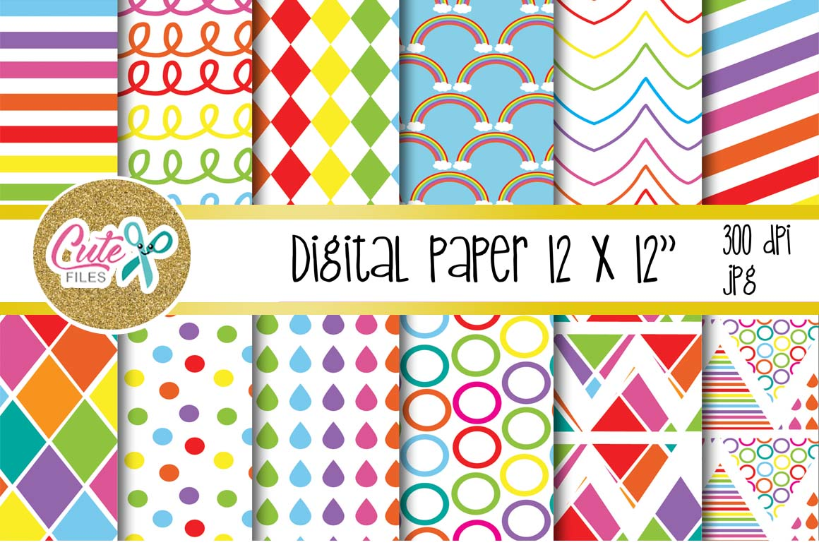 Download Free Raimbow Colorful Digital Paper For Scrapbooking Graphic By Cute for Cricut Explore, Silhouette and other cutting machines.