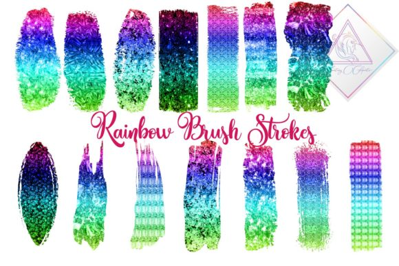 Print on Demand: Rainbow Brush Strokes Clipart Graphic Illustrations By fantasycliparts