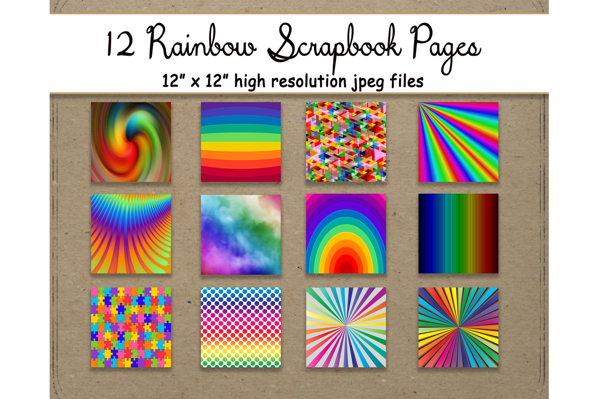 Download Free Rainbow Digital Paper 12 Pattern Bold Graphic By for Cricut Explore, Silhouette and other cutting machines.