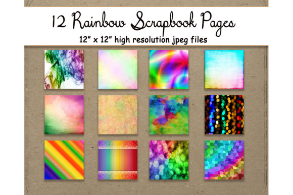 Download Free Rainbow Digital Paper 12 Pattern Sheet Graphic By for Cricut Explore, Silhouette and other cutting machines.