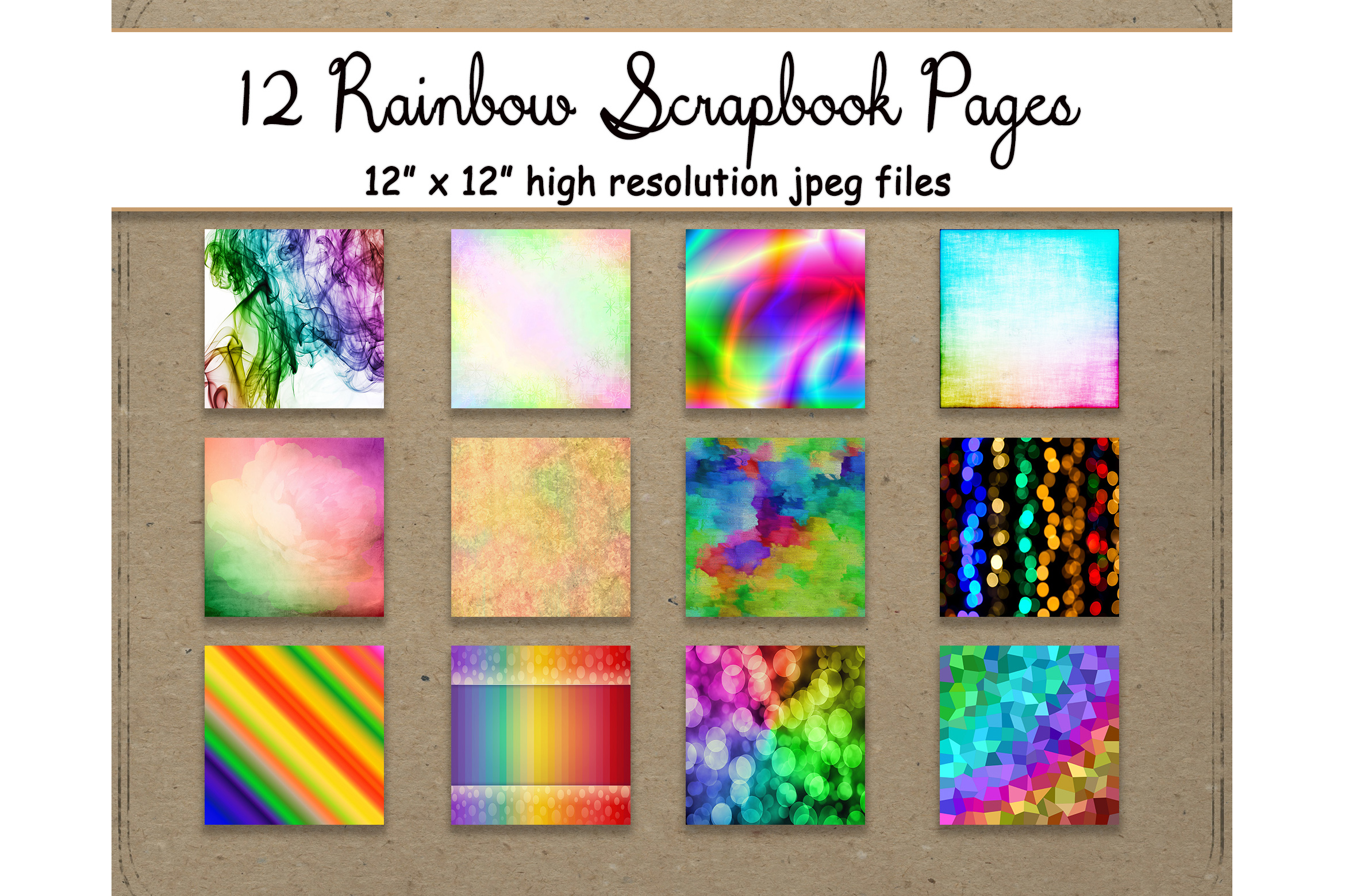 Rainbow Digital Paper 12 Pattern Sheet Graphic By