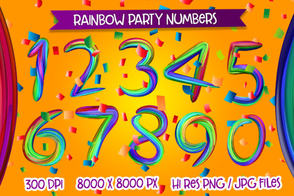 Print on Demand: Rainbow Party Numbers Graphic Illustrations By davidrockdesign