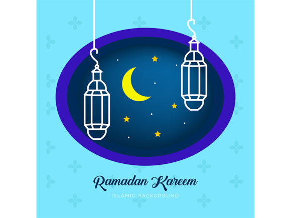 Ramadan Background with Moon and Star Graphic Illustrations By Griyocreative