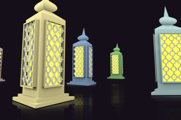 Print on Demand: Ramadan Lantern Pack Graphic Backgrounds By mozyenstudio - Image 5