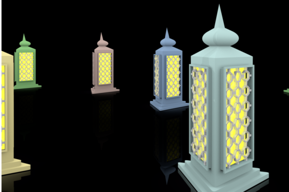 Print on Demand: Ramadan Lantern Pack Graphic Backgrounds By mozyenstudio - Image 6