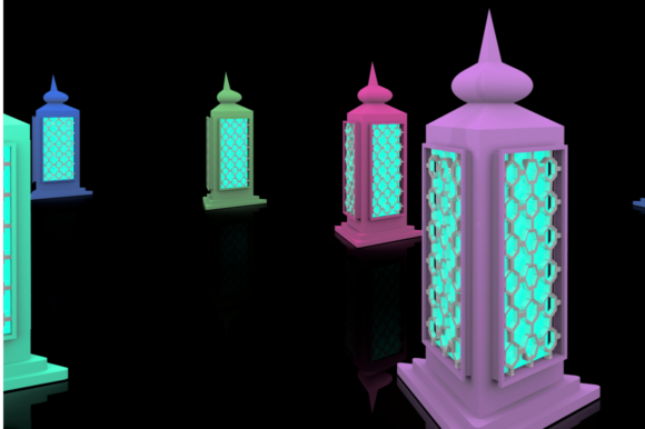 Print on Demand: Ramadan Lantern Pack Graphic Backgrounds By mozyenstudio - Image 8