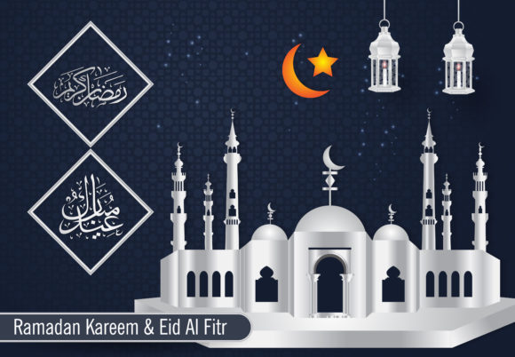 Ramadan and Happy Eid Background Graphic Backgrounds By SugarV_Creative