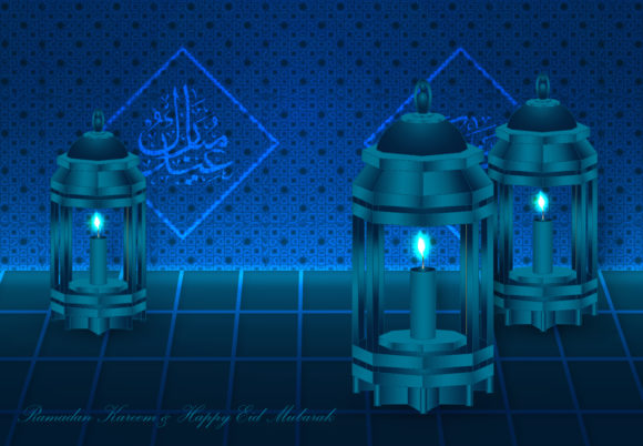 Ramadan and Happy Eid Mubarak Background Graphic Backgrounds By SugarV_Creative