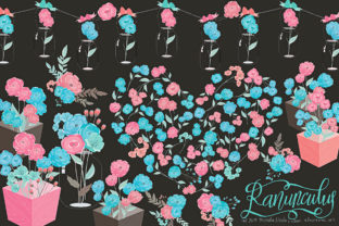 Ranunculus 01 Blue & Pink Flower Clipart Graphic By Michelle Alzola