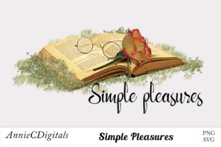 Download Free Reading Simple Pleasures Graphic Graphic By Anniecdigitals for Cricut Explore, Silhouette and other cutting machines.