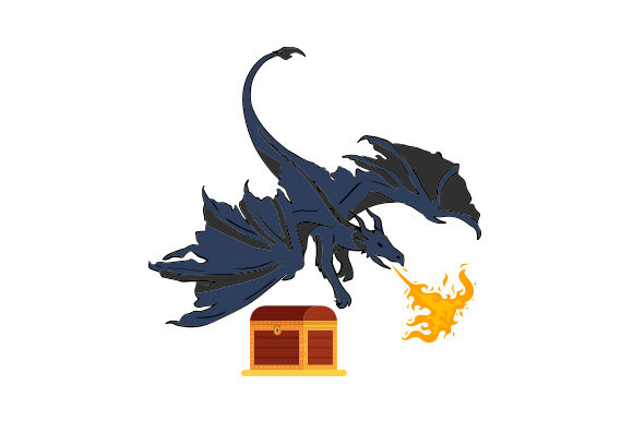 Realistic Dragon Guarding Treasure and Breathing Fire SVG ...