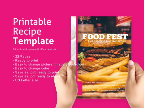 Recipe Ebook Template Editable with Microsoft Publisher Graphic By rivatxfz